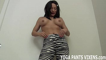 jerking yoga public pants Wife is scared of black cock